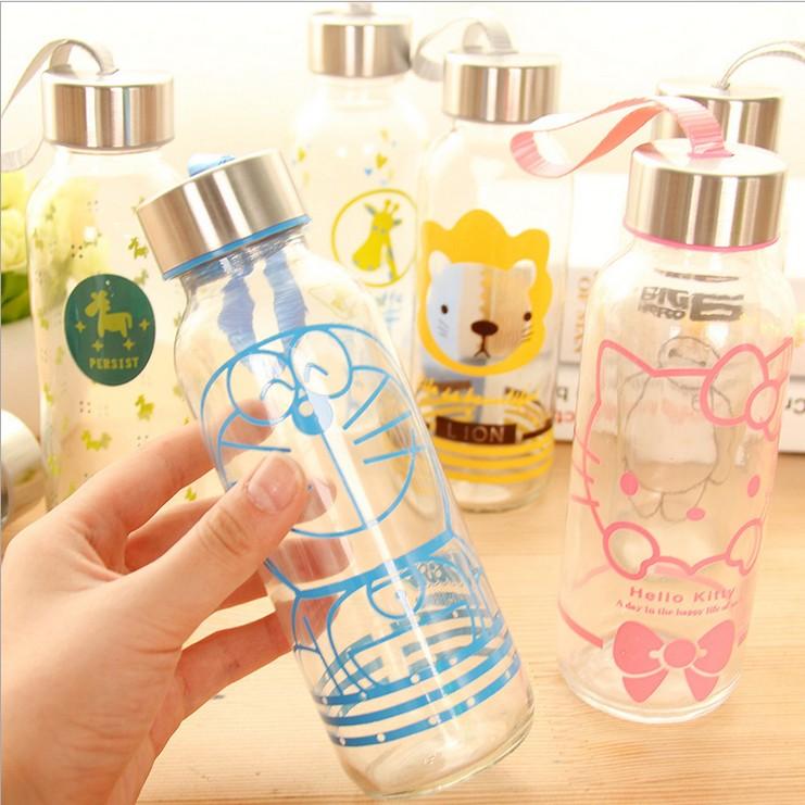玻璃杯水杯便携卡通杯子磨砂随手杯创意男女学生情侣水瓶透明茶杯