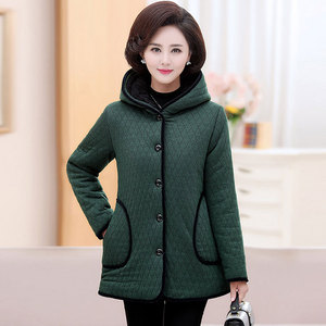 Middle-aged and elderly women's autumn and winter coats, middle-aged mothers' coats, winter mid-length plus size hooded cotton padded jackets