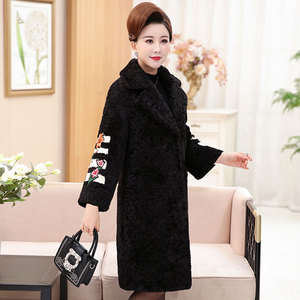 Middle-aged and elderly mothers wear autumn new coats 40-50 years old middle-aged women's winter wear long sheep shearing jacket