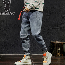 Playboy autumn and winter all-around jeans loose fit 9-point men's fashion brand small leg pants Korean Trend