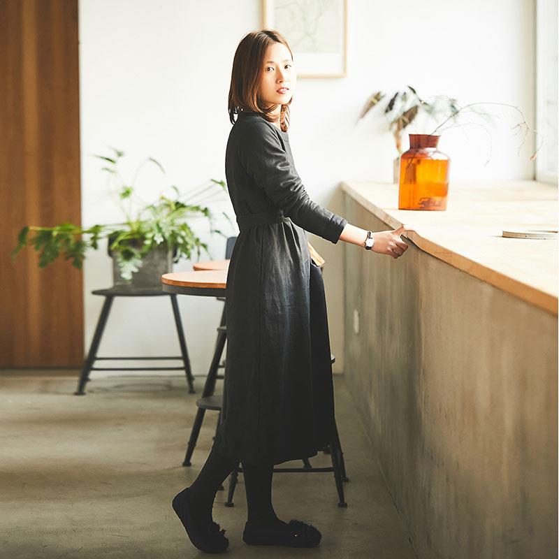 梭(琴键)原创设计2017冬装新款女长袖圆领亚麻加绒连衣裙长袍子