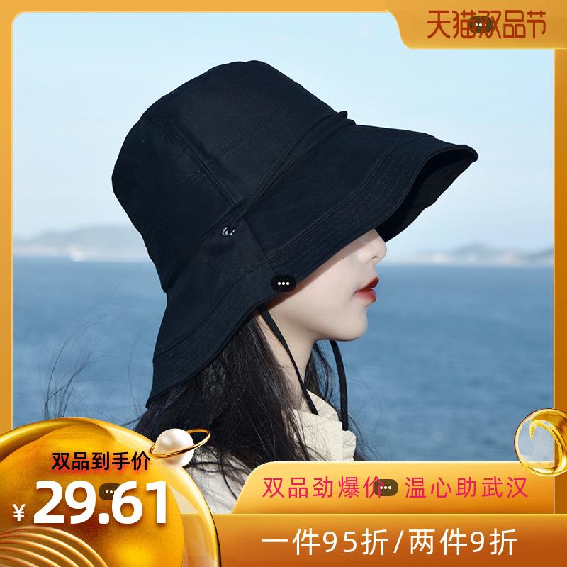 夏季网红款防风渔夫帽女太阳防晒遮阳紫外线女士帽子大檐韩版百搭