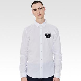 正品VERSACE JEANS/范思哲男装立体VJ标百搭衬衣男士修身时尚衬衫