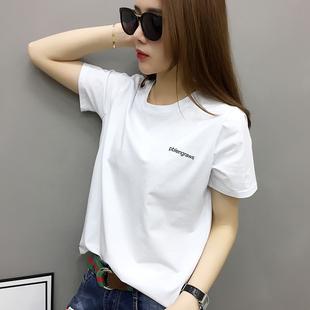 欧洲站2020年新款女装欧货潮白色t恤女短袖宽松纯棉夏季韩版体恤图片