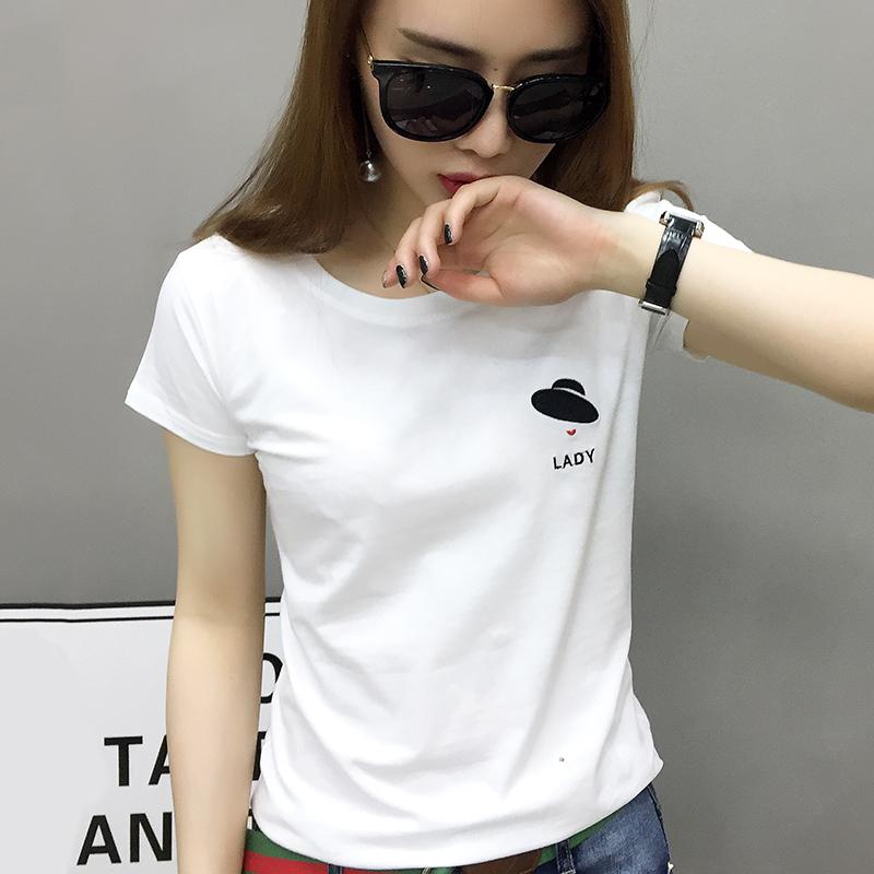欧洲站2020年新款女装欧货潮白色t恤女短袖纯棉夏季短款时尚体恤