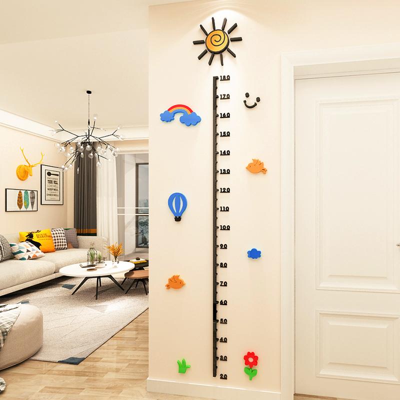 身高墙贴3d立体亚克力幼儿园宝宝卡通测量身高尺卧室儿童房间布置