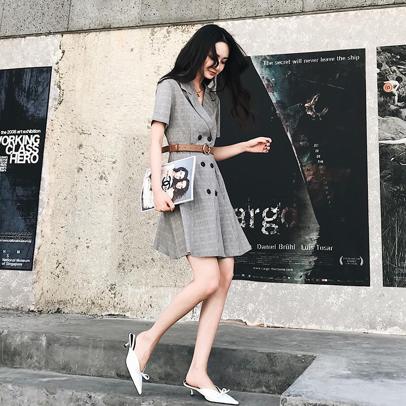 杨泡泡2018夏装新款韩版中长款连衣裙女气质时尚收腰双排扣格子裙