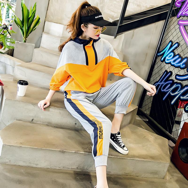 欧洲站休闲运动套装女夏新款2019时尚韩版宽松两件套洋气流行潮流