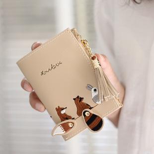 小清新女士绣线可爱卡通钱包 韩版短款流苏拉链2折折叠零钱包卡包图片