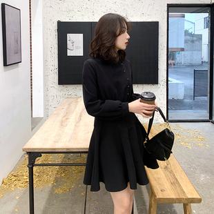 2020新款赫本小黑裙秋季淑女连衣裙复古显瘦冷淡风内搭蓬蓬裙长袖图片