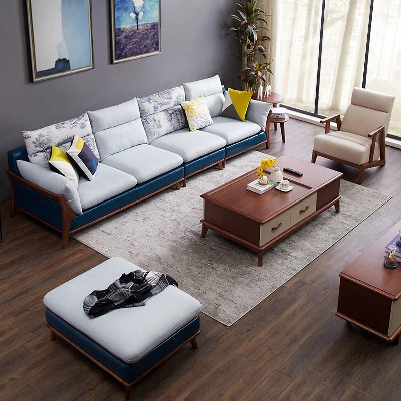 轻奢简约现代布艺沙发四人位一字直排北欧小户型客厅实木整装多人