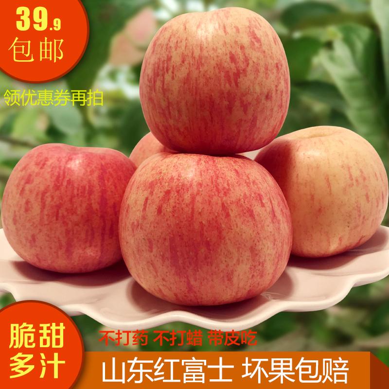 山东烟台栖霞红富士苹果脆甜多汁新鲜水果5斤包邮产地直发