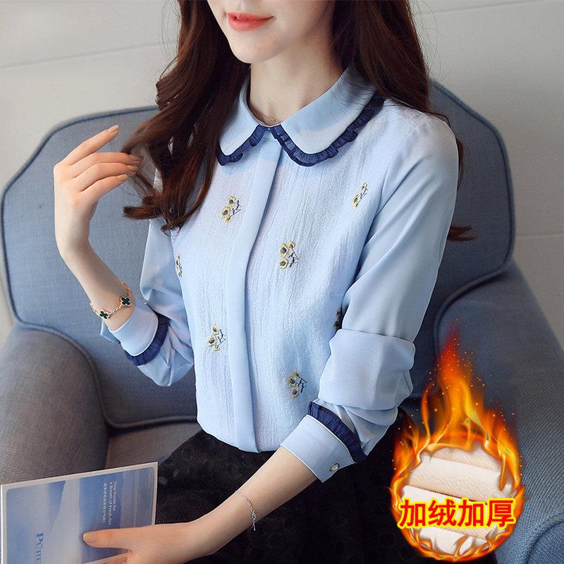 加绒加厚雪纺衬衫女长袖2019秋冬新款修身保暖打底衫上衣洋气小衫