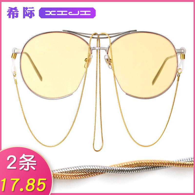 希际网红眼镜链条挂脖复古洛丽塔太阳眼睛链子挂绳时尚男女墨镜带