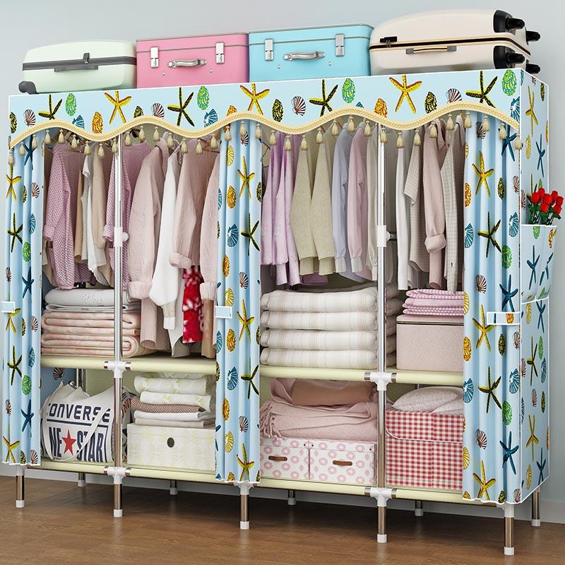 钢管布衣柜加粗加固加厚加大双人涤棉布套经济型简约现代简易衣柜
