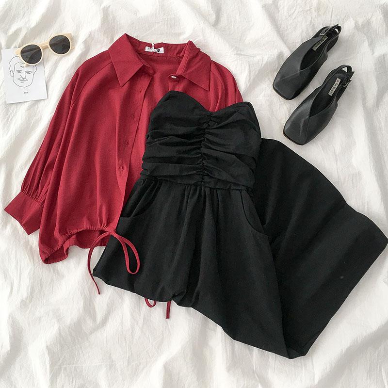 时尚减龄两件套装早秋季2019新款女韩版小个子气质衬衫抹胸连衣裙