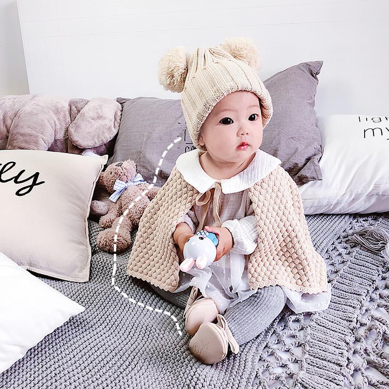 婴儿披风斗篷秋冬外出披肩针织宝宝防风幼儿开衫外套小女孩网红