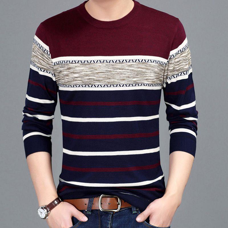 U10春秋男装长袖T恤中青年打底衫新款潮韩版学生靓仔圆领针织衫卫