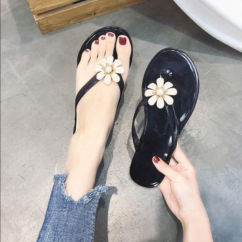 时尚水晶人字拖女夏韩版外穿防滑平底女学生夏天沙滩鞋女士凉拖鞋