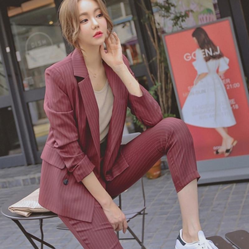 职业装西装套装女韩国2019新款时尚正装大学生面试英伦风气质淑女