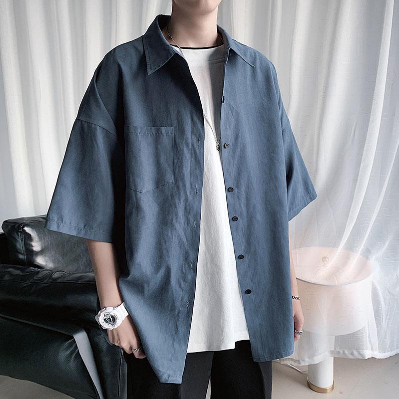 新款短袖衬衫男韩版潮流休闲港风宽松很仙的上衣痞帅潮牌百搭衬衣