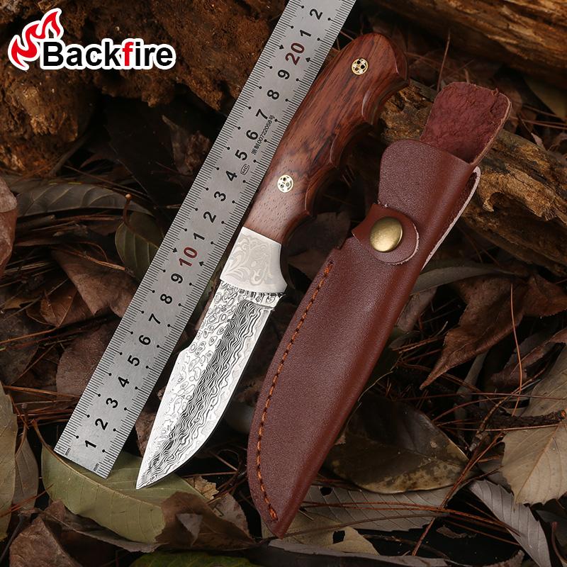 高硬度大马士革钢军刀户外防身军工刀户外随身小刀具荒野求生装备