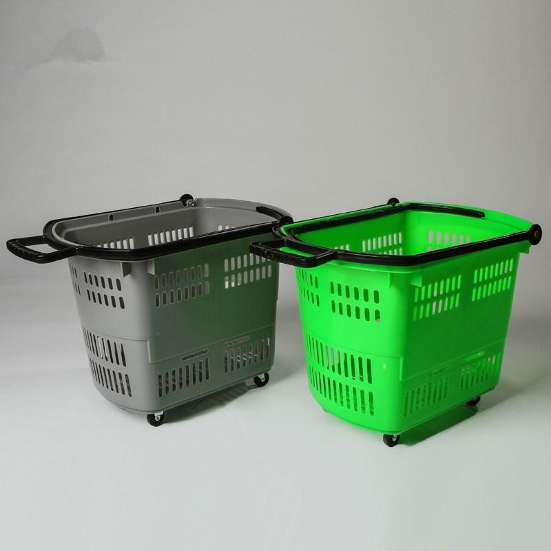 蓝色塑料市筐 市场购物车 货物周转篮 带轮购物筐