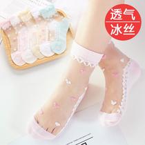 儿童水晶袜子夏季薄款女童纯棉冰丝袜中大童公主花边宝宝夏天小孩