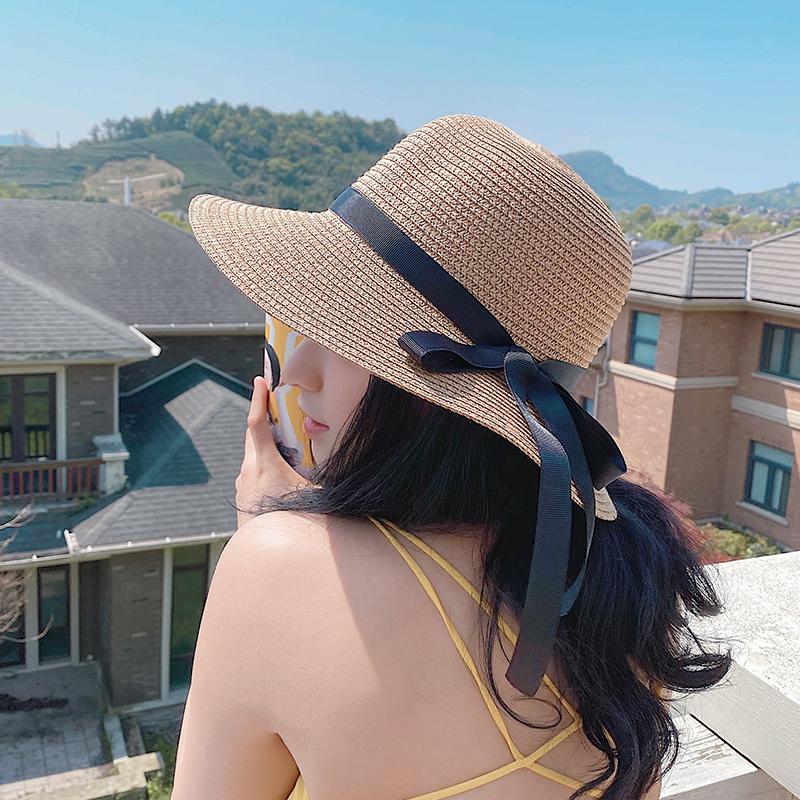 帽子女夏天海边日系沙滩防晒遮阳草帽出游度假可折叠百搭太阳帽子