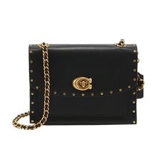Directly operated COACH Koch Parker 18 Leather rivet chain single shoulder oblique Bag 35566 29389