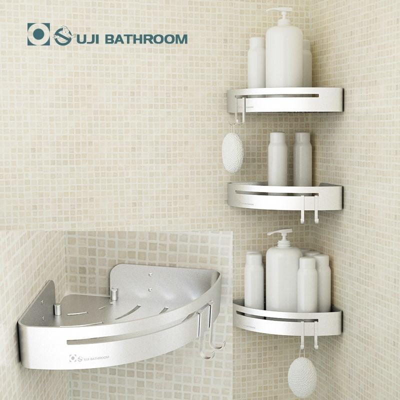 欧吉免打孔洗澡间浴室置物架淋浴房卫生间双层壁挂太空铝三角架