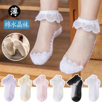 宝宝袜子夏季薄款儿童水晶袜女童花边蕾丝公主网眼超薄冰丝袜舞蹈