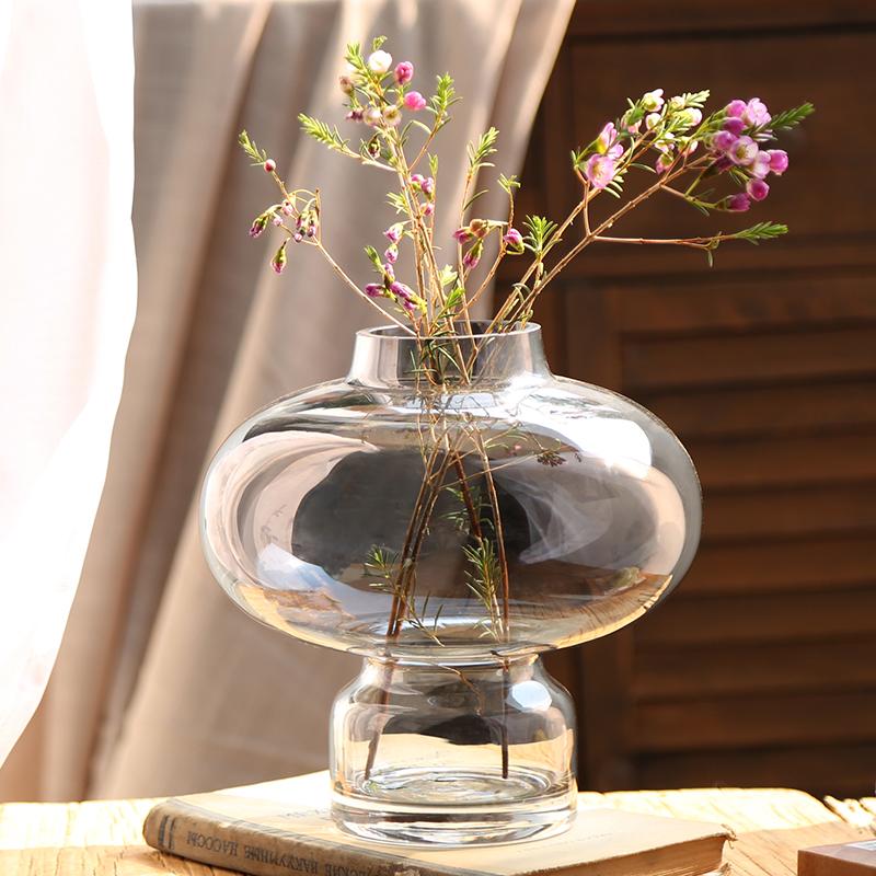 北欧透明彩色家居饰品餐桌个性创意玻璃现代简欧客厅插花花瓶摆件