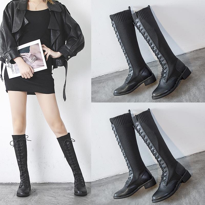 靴子女2019秋冬加绒网红不过膝高筒靴骑士粗跟瘦腿袜靴小个子长靴