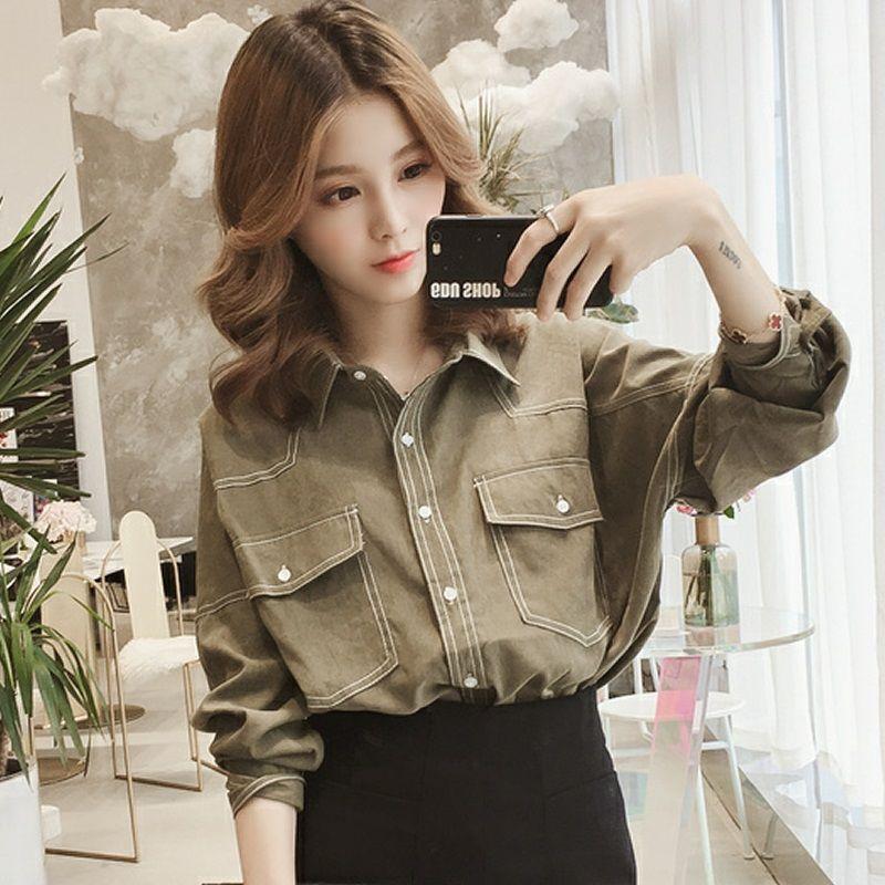 2019春秋装新款韩范Polo领单排扣长袖衬衣宽松休闲衬衣外套衬衫女