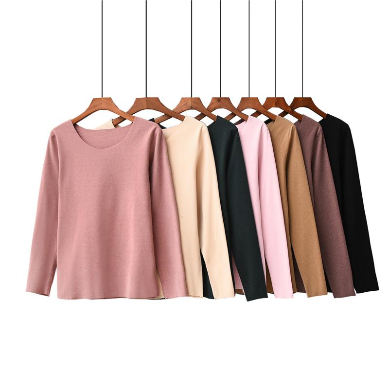 磨毛德绒无痕保暖内衣发热棉长袖T恤女秋冬季新款内穿打底上衣潮