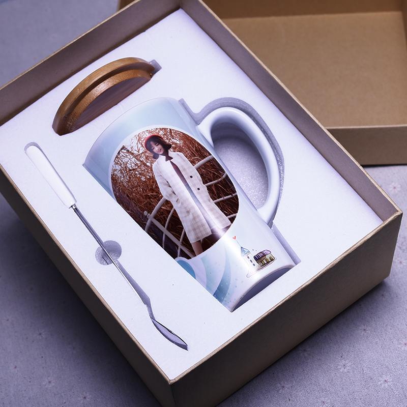 定制马克杯 印图相片瓷带盖勺创意个性白色diy订制logo水杯子