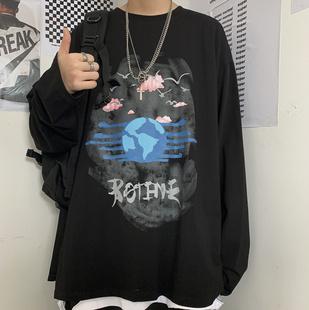 美丽的脏话混搭风男装模范生mboy黄新淳原宿创意印花长袖圆领T恤