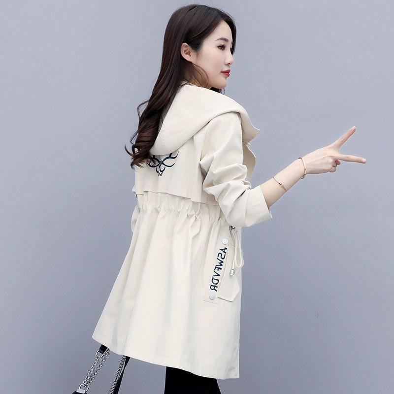 6秋装韩版新款大码女士连帽风衣女中长款休闲收腰学生外套女装