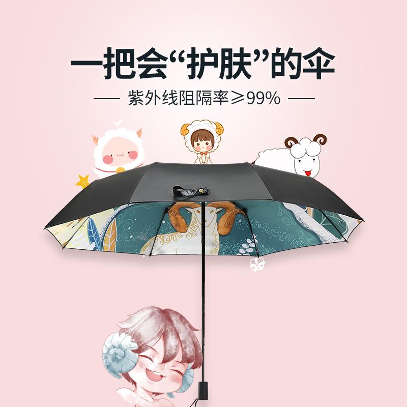 红叶雨伞十二星座黑胶太阳伞upf50+防晒防紫外线晴雨两用遮阳伞女