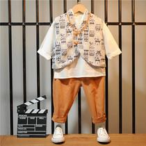 男童儿童古装汉服套装中国风女童汉服唐装三件套演出服小孩汉服装