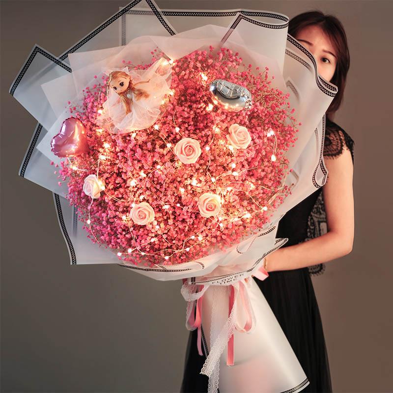 超大束满天星干花花束礼盒玫瑰真永生花闺蜜女朋友生日圣诞节礼物