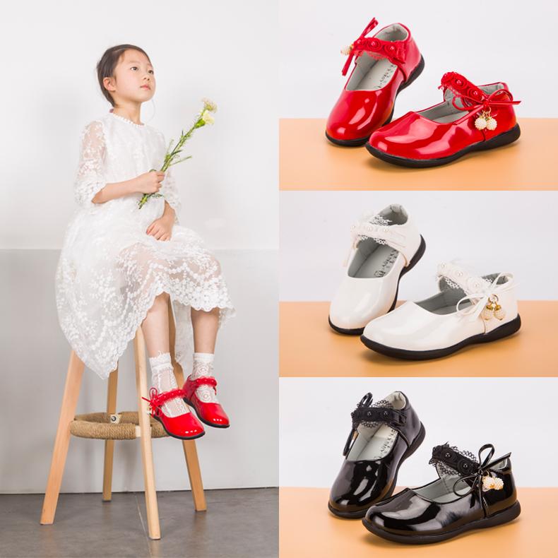 [¥32.9]女童豆豆鞋单鞋2019春款公主鞋儿童皮鞋鞋子女春秋宝宝小女孩软底