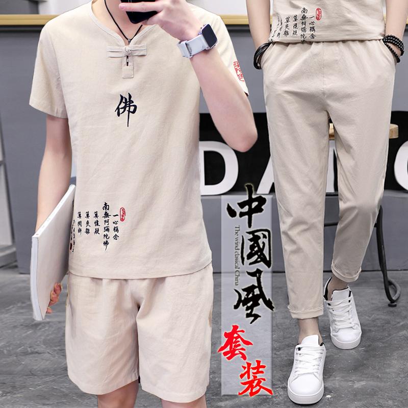 夏季棉麻套装男亚麻短袖t恤潮流韩版v休闲中国风佛系帅气社会衣服