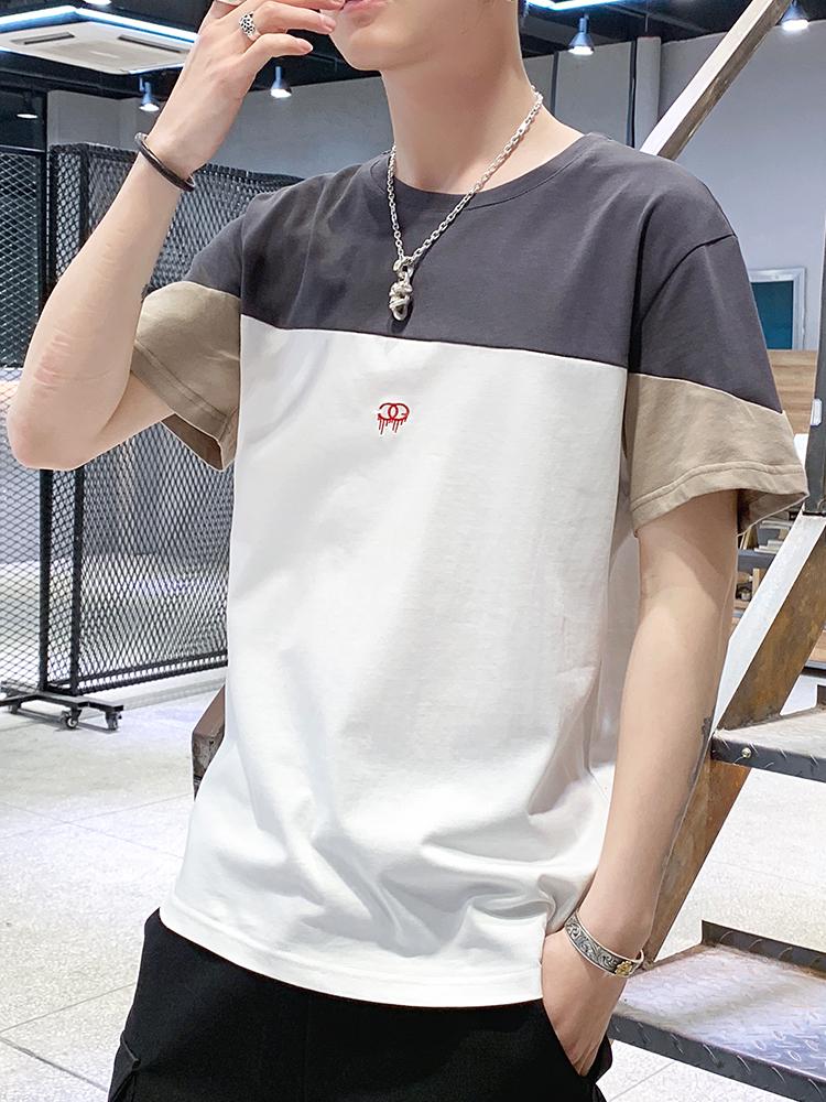 男士短袖t恤夏季韩版宽松上衣服潮流港风半袖体恤男装上衣服潮牌T