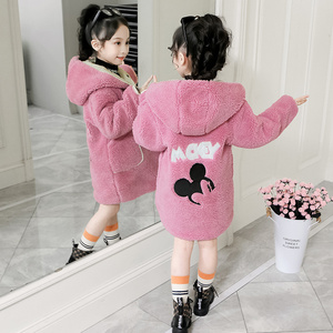 Girls winter coat 2019 new style foreign thickened children autumn and winter loose lamb plush net red girl coat