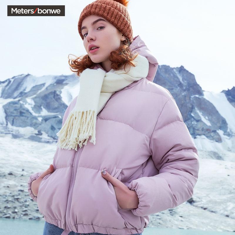 美特斯邦威羽绒服女2019冬季新款时尚莫兰迪色短款面包服蓬松保暖