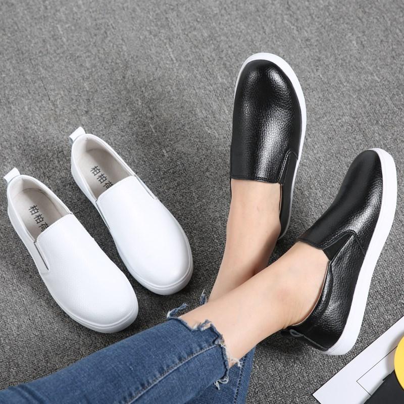 2019春季新款韩版百搭乐福鞋女鞋子平底皮鞋一脚蹬懒人春款豆豆鞋