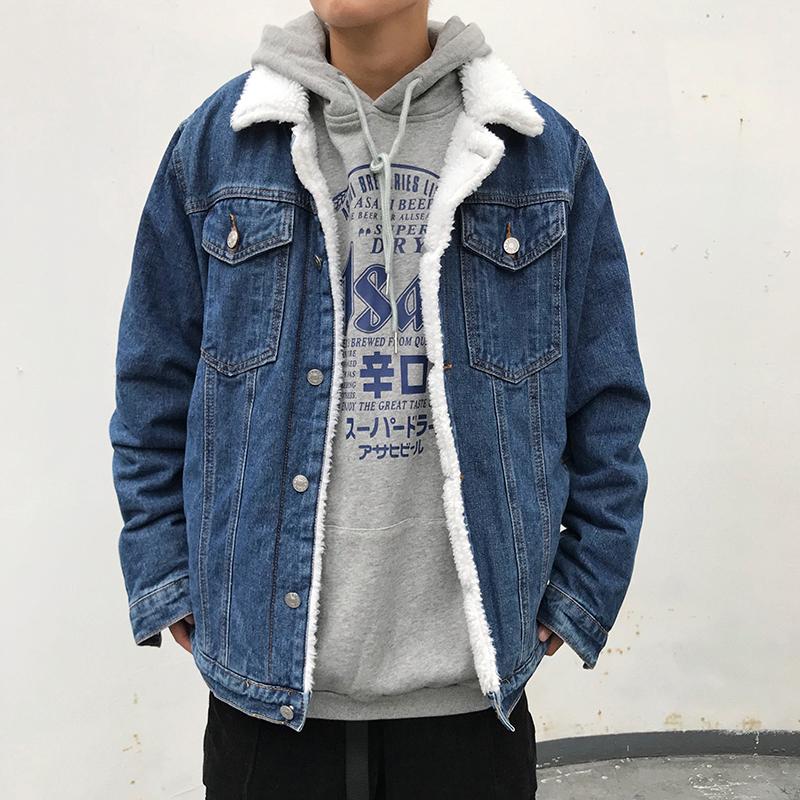 秋冬季羊羔绒牛仔外套男士潮流韩版复古夹克宽松ins加厚加绒上衣