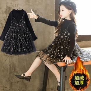 女童秋冬2020新款连衣裙星星裙舞蹈裙蓬蓬加绒公主裙连衣裙长袖。图片